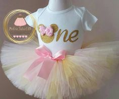 minnie mouse birthday outfit  pink and gold by JAdoreTuTuChic