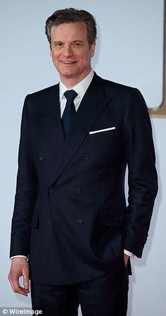 Suited and booted: Colin looked every inch the English gentleman as he rocked a bespoke Gr...