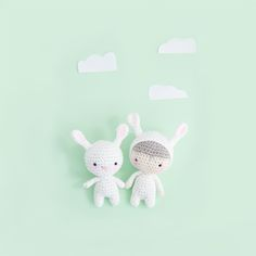 Free Crochet Bunny Pattern for Easter Holiday. Please enjoy these two cute bunnies. Free tutorial by Ina Rho