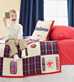 Crocheted Sports Bedspread and Pillow Set. Noah's Christmas present in Saskatchewan Rough Rider colors?