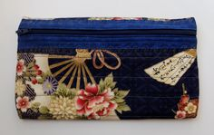 Quilted zippered pouch Asian blue floral fabric by StephsQuilts