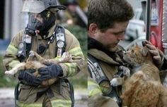 These pictures always make me smile. Go firefighters, for caring enough to make sure that our furry friends make it out okay, too.