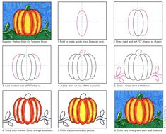 Pumpkin Drawing: Kinder – Grade · Art Projects for Kids. Best for young ones that are learning how to draw, as in age 6 - PDF tutorial available to share. pumpkins drawing Pumpkin Drawing: Kinder – Grade · Art Projects for Kids Thanksgiving Art Projects, Halloween Art Projects, Fall Art Projects, Theme Halloween, School Art Projects, Halloween Pumpkins, First Grade Art, 2nd Grade Art, Grade 2