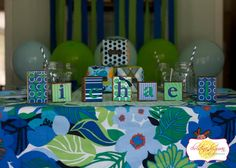 Navy Blue light blue green preppy Whale Birthday party decorations - supplies party ideas , cupcake toppers and banners! www.partyondesigns.com