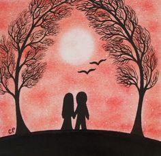 #Valentines #Card #Couple #Trees Card #Romantic Valentine Card