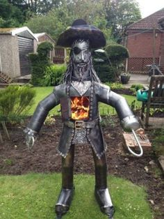 Items similar to Pirate Wood Burner Log Chiminea Statue Sculpture Outdoor Patio Heater on Etsy Fire Pit Gravel, Fire Pit Bbq, Metal Fire Pit, Cool Fire Pits, Diy Fire Pit, Fire Fire, Fire Pit Video, Fire Pit Materials, Heavy Metal Art