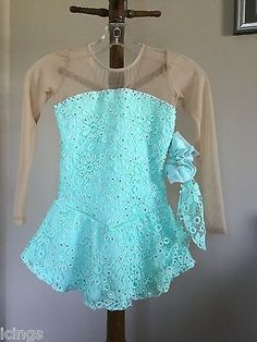 Icings New CM MINT LACE COMPETITION ICE FIGURE ICE SKATING DRESS