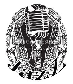 Vector Music Frame With Microphone And Saxophone Retro T-shirt Design