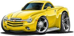 SSR Chevy Ssr, Chevrolet Trucks, Truck Art, Cool Sports Cars, Cute Cars, Sexy Cars, Cool Cartoons, Illustrations, Cars And Motorcycles