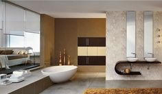 Love this #bathroom complete with curvilinear #design and an inviting #tub