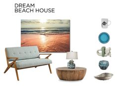 """#dreambeachhouse"" by mariannamic on Polyvore featuring interior, interiors, interior design, home, home decor, interior decorating, Ink & Ivy, Guaxs, Dot & Bo and Michael Aram"