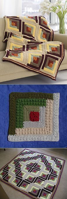 "diy_crafts- ""Crochet ANever Ending Love Square Free Pattern - Crochet Heart Square"", ""Discover thousands of images about Crochet afghan insp Plaid Au Crochet, Gilet Crochet, Crochet Motifs, Crochet Quilt, Crochet Squares, Crochet Granny, Crochet Stitches, Crochet Blocks, Knit Crochet"