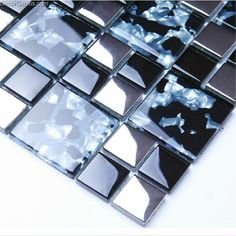 Sea Blue Glossy Pure Diamond With Pattern Mosaic Countertop Glass Mosaic Tiles [DGGM014] - $21.98 : DecorGenius.com