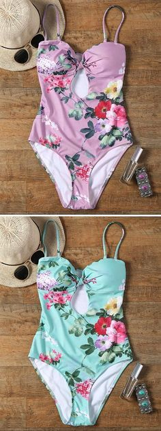 454fa771dbd Feeling tired and craving for a holiday? Cupshe Shallow Waters Print  One-piece Swimsuit is just for you! Sweet floral printing, lace up at back  design.