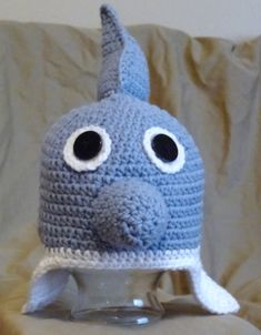 Danny the Dolphin crochet animal hat by NuttyNoggins