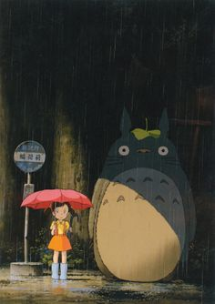"A fun poster from the Hayao Miyazaki movie My Neighbor Totoro! This modern classic by Studio Ghibli tops many anime ""Best Of"" lists! Check out the rest of our fantastic selection of Hayao Miyazaki posters! Need Poster Mounts. Japanese Movie Poster, Japanese Movie, Painting, Animation, Poster Art, Art, Anime, Totoro Poster, Anime Movies"