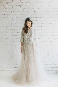 Boho Wedding Dress / Two Piece Wedding Dress / Bridal Separates / Nude Lace and Tulle Dress / Bridal Tulle Skirt / Lace Wedding Top – PEONY - Hochzeit Two Piece Wedding Dress, Lace Wedding Dress, Bridal Lace, Bridal Dresses, Wedding Gowns, Prom Dresses, Wedding Skirt, Tulle Wedding, Wedding Bridesmaids