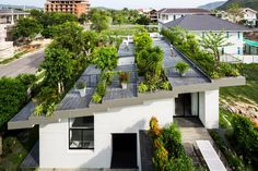 Lush green rooftop terrace invites homeowners outdoors in the foothills of…