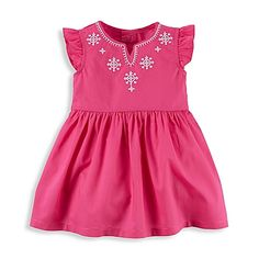 This darling Embroidered Flutter Sleeve Dress and Diaper Cover Set from carter's is stylish and comfortable, with a cut-out neckline dotted with pretty embroidery. Flutter sleeves and a full skirt add feminine charm.