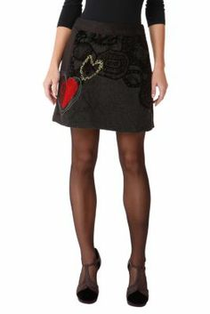 Desigual women�s Passion A-line skirt. It�s made of wool (yes, wool!) on both sides. Did you know that the hearts are hand-embroidered