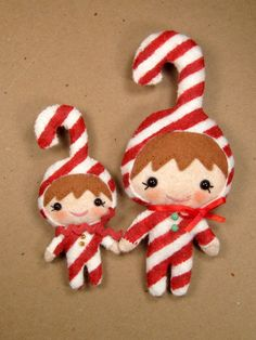 Candy Cane Elf Plushy Ornament, Doll or Brooch