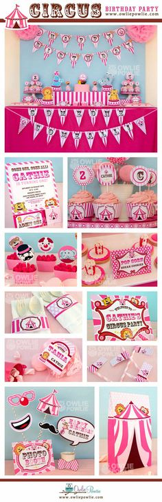 Hey, I found this really awesome Etsy listing at https://www.etsy.com/listing/169666737/vintage-pink-circus-birthday-party