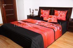 Narzuty na łóżko do sypialni w kolorze czarnym z czerwonymi orchideami