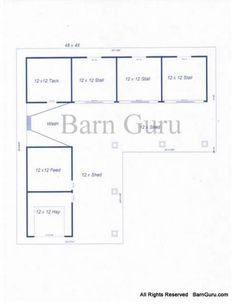 3 Stall Horse Barn Plans--outdoor with feed, tack, wash stall, and hay storage