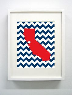 Moraga, California State Glicée Print - 8x10 - Blue and Red College Print - Perfect College Dorm or Apartment Decor!