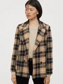 H&M Women Beige & Black Checked Short Blazer