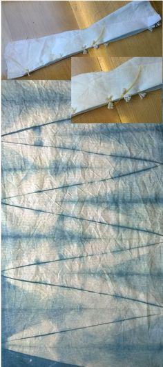 Fabric diagonally folded (practice with a piece of paper first) stitched in a few places on the long straight edge as shown in inset picture. Beautiful chevron design is revealed after indigo dyeing. Sample made by Townhill Studio.