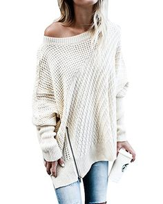 Women s Pullover Sweaters - Beautife Womens Oversized Knitted Sweater  Casual Crewneck Long Batwing Sleeve Jumper Pullover at Women s Clothing  store  fe19ede3e