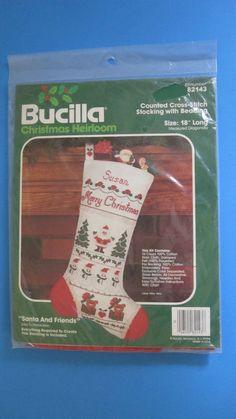"Bucilla Santa And Friends Stocking Counted Cross Stitch Kit w Beading #82143 18"" #Bucilla #Stocking"
