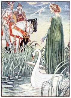 King Arthur asks the lady of the Lake for the sword Excalibur. Walter Crane, from King Arthur's knights, retold by Henry Gilbert, Edinburgh, London, 1911. (Source: archive.org)