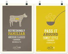 Julian – Restaurant Branding by Jordan Gray, via Behance. The cow is very creative. Nice contemporary feel here Menu Design, Design Art, Print Design, Branding Design, Logo Design, Food Branding, Retail Branding, Cafe Branding, Event Branding