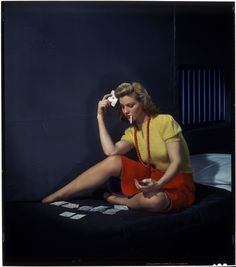 Woman in cell playing Solitaire Nickolas Muray George Eastman House Collection House Photography, Color Photography, Vintage Photography, Portrait Photography, William Wegman, Nickolas Muray, Eastman House, The Cardigans, Pin Up