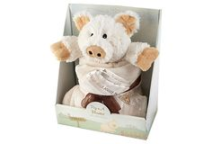 How adorable is this piglet? *squees*  2-Pc Pig in a Blanket Gift Set in Box, The Aspen Brands Co., as seen on One King's Lane.