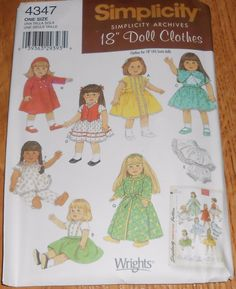 "Simplicity Sewing Pattern 4347 Doll Clothes 18"" American Girl  Uncut"