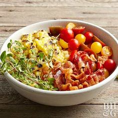 Make this flavorful salad in the summertime with fresh sweet corn for a new way to enjoy this summer treat. The addition of bacon and cherry tomatoes makes this dish a perfect summer salad recipe.