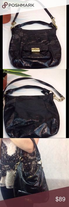Coach Black Patent Pre owned, used w/ lots of life to it, need cleaning inside, but a great bag overall Coach Bags Shoulder Bags