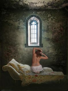 Where Freedom Is A Dream    Artist  Maureen Tillman    Medium  Digital Art - Digital Art    Description  Woman kneels on bed with pillows and comforter, alone in a grungy cell with high arched window and a bit of sky. Maybe she's in a tower of a castle but she's imprisoned there in silence. She has a butterfly tatoo in the small of her back.