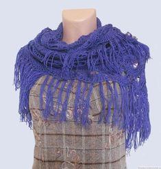 Handmade shawl, Shawl warm, crochet shawl, shawl lace, shawl wool, blue shawl, triangle crochet scarf