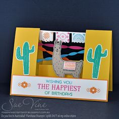 handmade card from Sue Vine on  MissPinksCraftSpot  ... Birthday Fiesta  ... center step fold format ... luv the depth of the party scene including papel picado on a string ... great use of bright colors ... Stampin' Up!