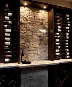 Basement wine bar w Stone backsplash