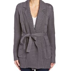 Wrap Cardigan Sweater NWOT Long Sleeve Wrap Cardigan with Pockets and Tie. Gray knit sweater by Michael Stars. Has only been tried on once and never worn otherwise. Style# SW164. 60% Cotton, 40% Acrylic. Michael Stars Sweaters Cardigans