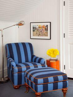 orange piping on blue chair is great -Amanda Nisbet
