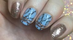 Nail Art | Blue marble with Rose Gold | Gel Polish - YouTube