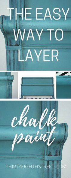 How To Layer Chalk Paint®️️. Tips for Layering Chalk Paint®️️ on Your Furniture. Painting Furniture Before and After. Turquoise Furniture. Turquoise Bed. Painted Blue Furniture. Painting Techniques for Chalk Paint®️️. #chalkpaint #anniesloan #paintedfurniture