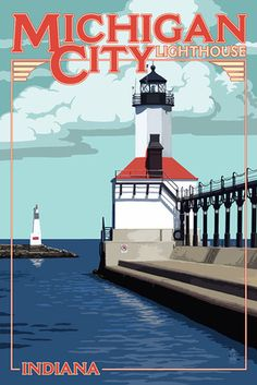 Indiana - Michigan City Lighthouse - Lantern Press Poster