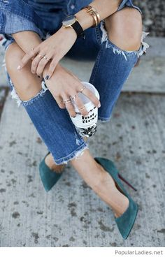 Blue jeans design and blue green velvet shoes